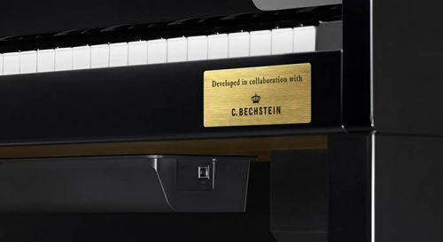 a closeup of the badge representing the collaboration between Casio and Bechstein