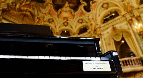 a closeup of the Casio Celviano Grand Hybrid in a classical hall with the Bechstein badge